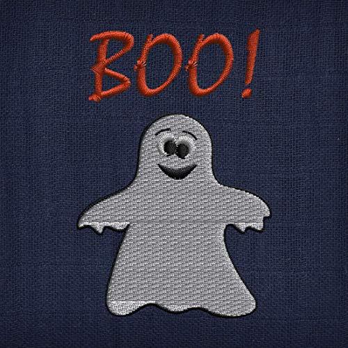 (Nuschel Burp Cloth & Bib - Navy with ''Boo! Ghost'' Embroidery Design)