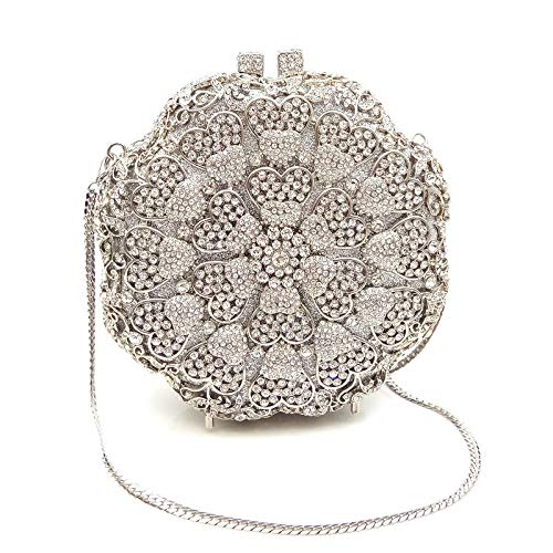 Shoulder Rhinestone Clutch Party color Rabbit Satchel Gold Evening Mini Handbag Lovely Purse Wedding Round Silver Women's Bags W41A7wqF