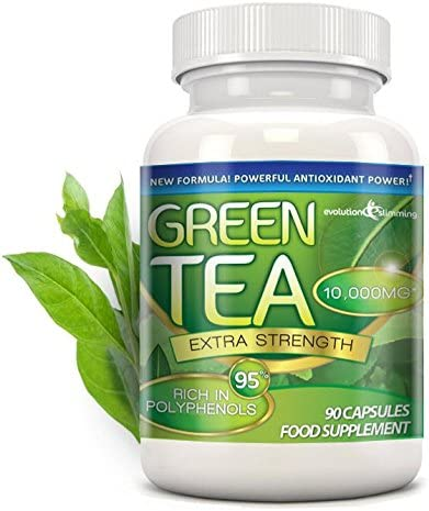 Green Tea Extra Strength 10 000mg with 95 Polyphenols 90 Capsules 1 Month Evolution Slimming
