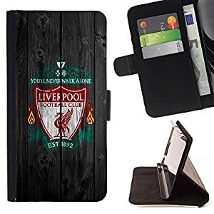DEVIL CASE - FOR Apple Iphone 6 PLUS 5.5 - You'll never walk Alone Soccer Football - Style PU Leather Case Wallet Flip Stand Flap Closure Cover