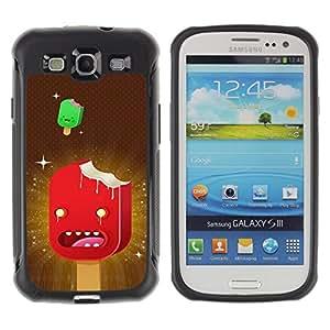 All-Round híbrido Heavy Duty de goma duro caso cubierta protectora Accesorio Generación-II BY RAYDREAMMM - Samsung Galaxy S3 I9300 - Ice Cream Art Cartoon Characters Red Stars