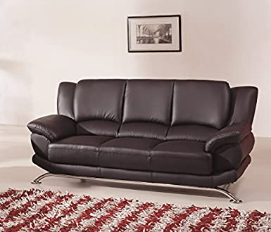 Etonnant Modern Line Furniture 9908Bs Contemporary Leather Sofa, Black