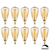 KINGSO 10 Pack E12 Vintage Edison Light Bulbs 40W 110V Antique Dimmable Nostalgic Tungsten Filament Candelabra Base Incandescent Lamp Squirrel Cage Style Bulbs ST48 for Home Light Fixtures