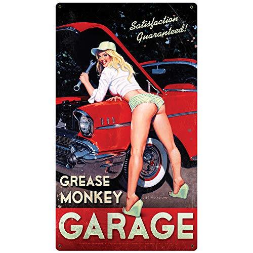 Grease Monkey Pinup Girls Metal Sign - Garage Art Signs