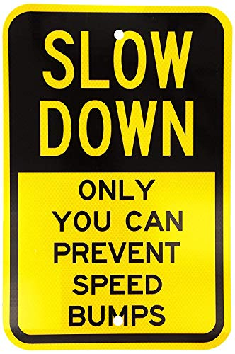 Glad grace Fluorescent Diamond Grade Reflective Aluminum Sign, Legend Slow Down, Only You can Prevent Speed Bumps, 8