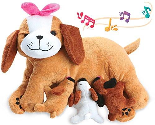 KLEEGER Plush Stuffed Animal Toy: Plush Mother Dog & 3 Talking Puppies, Nurturing & Caring Playset For Kids & Toddlers   Perfect Birthday Gift (Dog & Puppies)