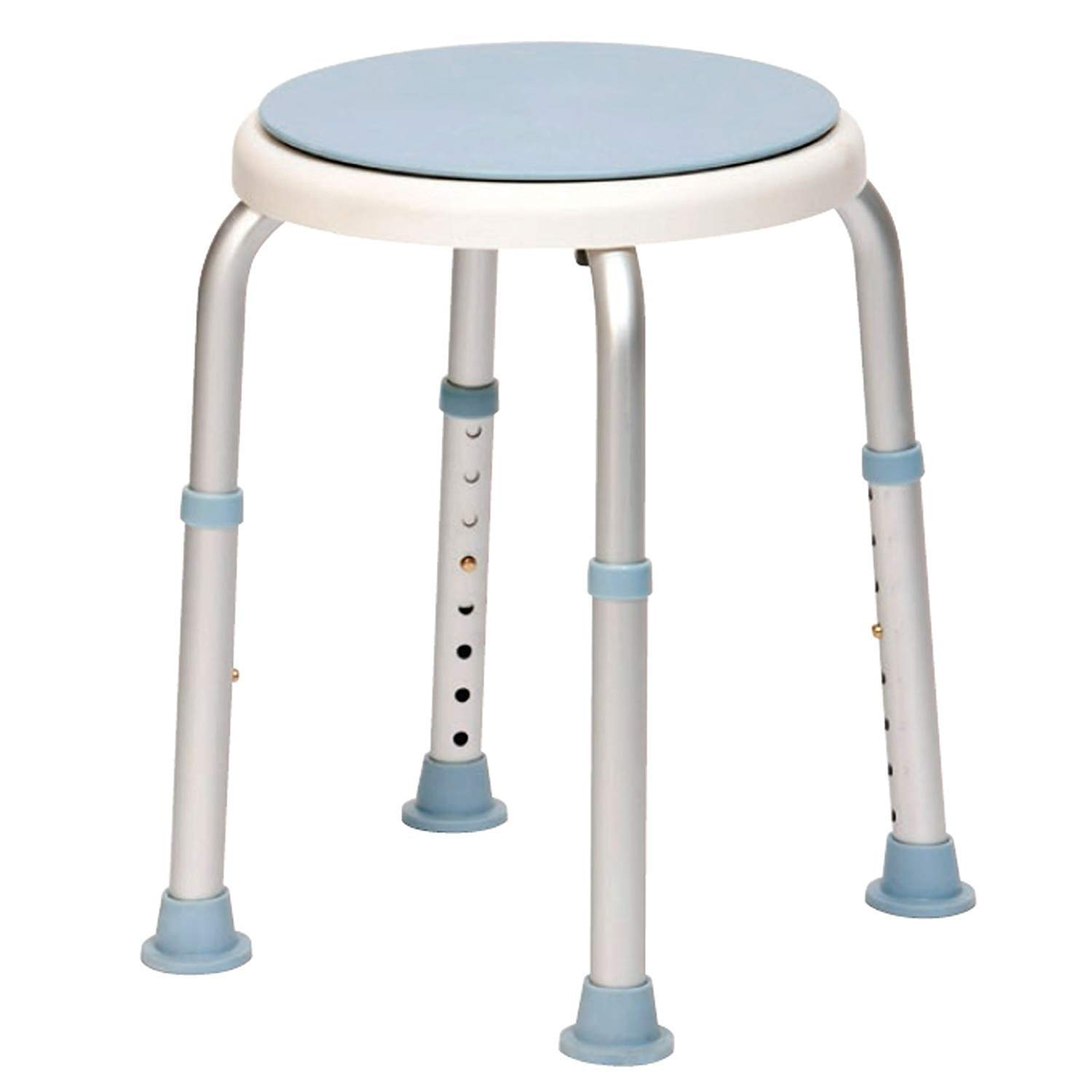 Beauty Drive Rotating Rounded Bath/Shower Stool with Swivel Seat Aluminum Material Suitable for People with Reduced Mobility