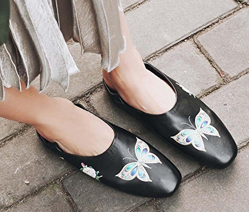 Women 40 Shoes On Size Simple Shoes Fashion Court Genuine Ballerina Flat Leather Casual Shoes 34 Eu Lips Graffiti Lazy 2 Slip Black Shoes Wears Shoes Pump Mother Ways Butterfly Agvqwzp4z