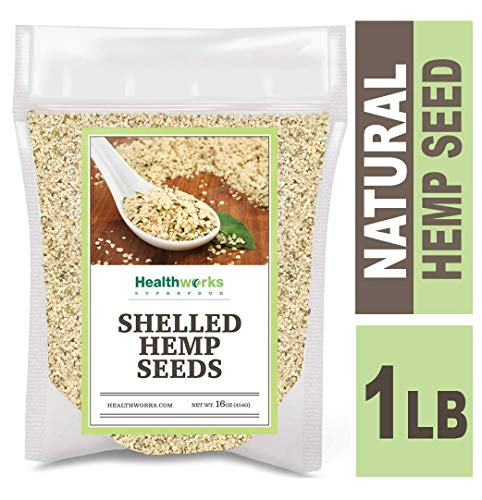 Healthworks Shelled Hemp Seeds Canadian (16 Ounces / 1 Pound) | Pesticide-Free, Premium & All-Natural | Contains Omega 3 & 6, Fiber and Protein | Great with Shakes, Smoothies & Oatmeal