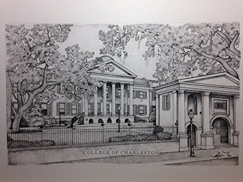 College of Charleston 11''x14'' pen and ink print by Campus Scenes