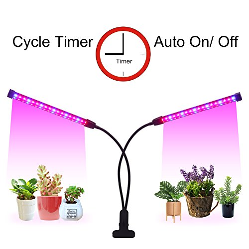 Clip Grow Light Timer(3/9/12 hrs) 3 Light Mode and 5 Level Dimmable Flexible Gooseneck Clip On Grow Plant Lamp for Indoor Plant,Succulent,Herbs,Veg and Flower Hydroponics in Greenhouse,Garden (Black) ()