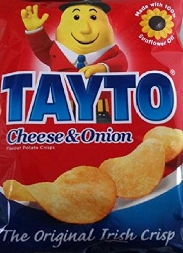 Tayto Cheese and Onion flavour crisps from Ireland (24x25g Packs) by Tayto