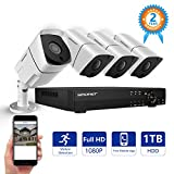 Security Camera System,SMONET 8CH Full 1080P Video Security System with 1TB HDD(AHD DVR Kits), 4PCS 1080P Outdoor/Indoor Bullet Cameras,Night Vision,P2P,Free APP,Easy Remote Review,Motion Alert