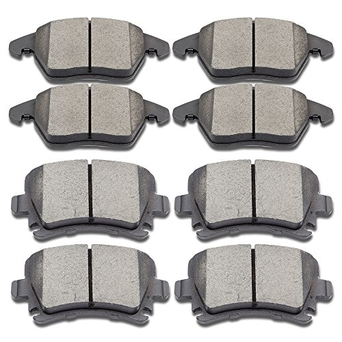SCITOO Ceramic Discs Brake Pads Kits, 8pcs Disc Brakes Pads Set fit Audi A3 Quattro/TT Quattro/A3,Volkswagen Golf/CC/Eos/GTI/Jetta/Passat/Rabbit,Front and Rear