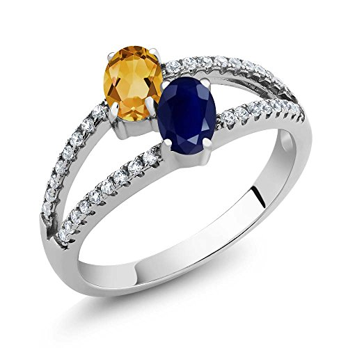 1.36 Ct Oval Yellow Citrine Blue Sapphire Two Stone 925 Sterling Silver Women's Ring (Available in size 5, 6, 7, 8, 9)
