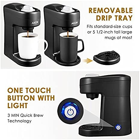Aicok Single Serve Coffee Maker, Single Cup Travel Coffee Brewer with One-Touch Button for Most Single Cup Pods including K-CUP pods, Quick Brew ...