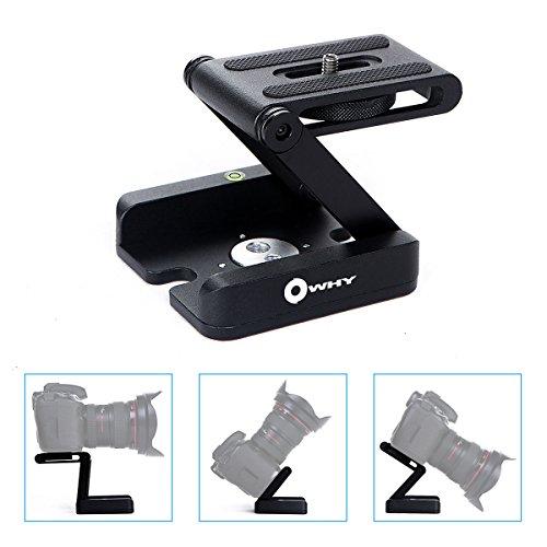 Aluminum Alloy Freely Folding Z Flex Owhy Brand Tilt Head Desktop Mini Stand Holder Quick Release Plate For DSLR Camera Camcorder Tripod (Black Camera Holder)