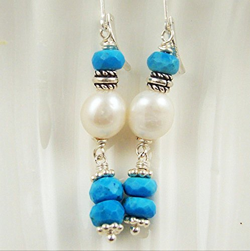 Turquoise Earrings Blue Gemstone White Freshwater Cultured Pearl Bali Bead Sterling Silver Leverback (Ss Bali Bead)