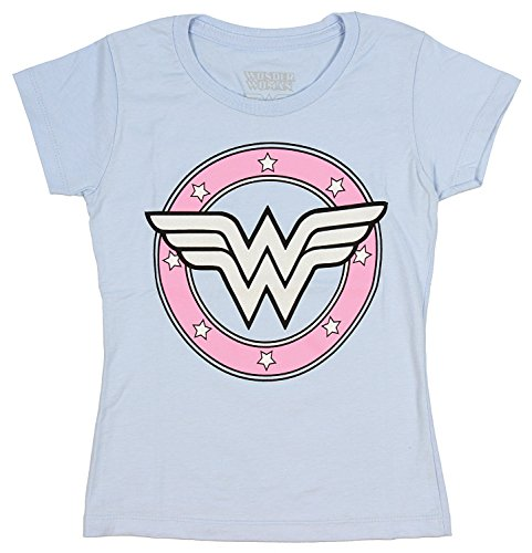 DC Comics Wonder Woman Girls Sugar Glitter Logo Light Blue T-Shirt (X-Large) -