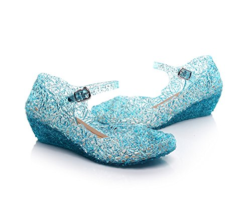 Jelly Sandal for Girls Princess Girls' Sparkle with LED Light Dress Up Cosplay Heel Jelly Shoes Size (3 M US Little Kid Without Light, Blue Without Light) -