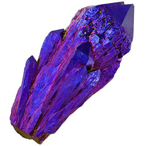rockcloud Natural Titanium Coated Deep Blue/Gold Flame Aura Raw Crystal Quartz Point Cluster Geode Druzy Gemstone Specimen Bar Shape