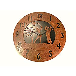 Wall Clock Man Woman Palm Trees Rustic Rusted Metal Black Back Plate 14 Quartz Movement Accurate to +/- one second per day Use 1 AA batteries (NOT INC)
