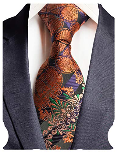 GUSLESON Brand New Striped Paisley Ties Mens Silk Necktie for Wedding (0786-03)