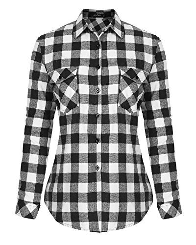 Womens Casual Button Down Plaid Shirts Roll up Long Sleeve Loose Blouse Tops with Front Pockets ()