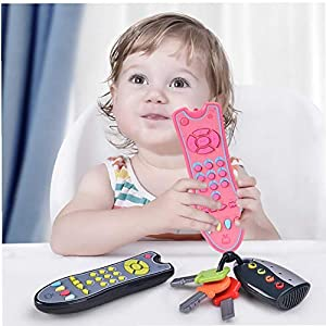 1pc Baby Remote Control Toy Tv Remote Control Infants Sound Musical Learning Toy Early Educational Toy for 1-3 Year Old…