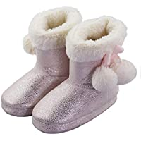 Girls Toddler Non-Skid Winter Cute Thick Plush Bootie Slippers with Pom-poms