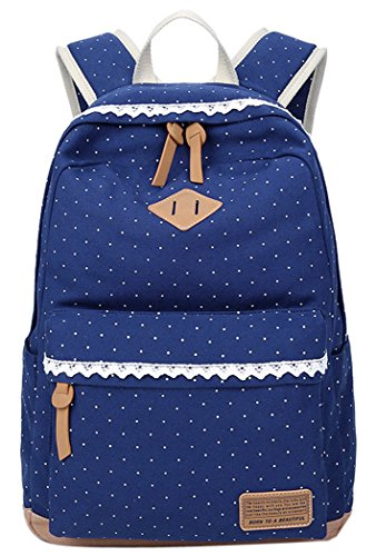 Coofit-School-Backpack-for-Girls-Canvas-Polka-Dot-Lace-Laptop-Backpacks-for-Teens