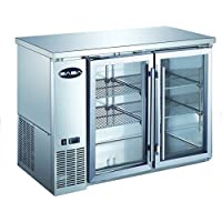 Heavy Duty Commercial Two Glass Door Stainless Steel Back Bar Refrigerator (24 Depth 48 Width)