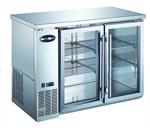 Heavy Duty Commercial Two Glass Door Stainless Steel Back Bar Refrigerator (24