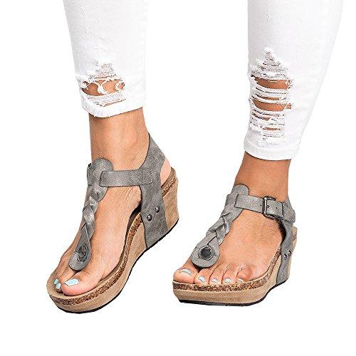 Cork Platform Wedges - Syktkmx Womens Wedge Platform Thong T Strap Braided Cork Ankle Strap Mid Heel Sandals (8 B(M) US, a-Grey)