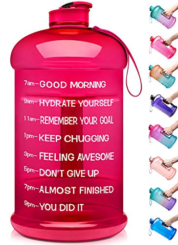 Venture Pal Large 128oz/74oz Leakproof BPA Free Fitness Sports Water Bottle with Motivational Time Marker to Ensure You Drink Enough Water Throughout The Day