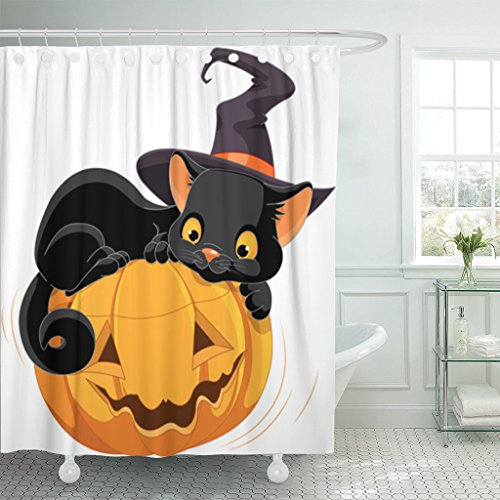 TOMPOP Shower Curtain Black Cat of Halloween Kitten Are Lying Happily on Pumpkin Animal Autumn Waterproof Polyester Fabric 78 x 72 inches Set with Hooks