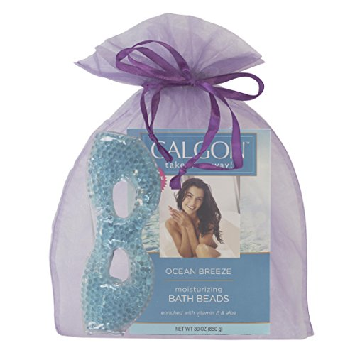 Calgon Take Me Away Ocean Breeze 2 Piece Set Featuring Bath Beads and Gel Bead Eye Mask in an Organza Gift Bag Makes an Elegant Spa Gift (Ocean Set Bath Breeze)