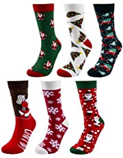 Dokpav 6 Pairs Christmas Socks, Colorful Festive, Crew Knee Cozy Socks Women Christmas Holiday Socks