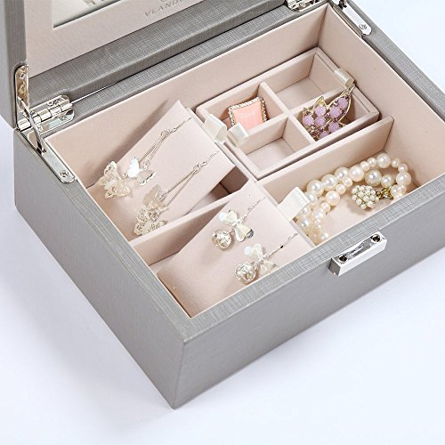 Vlando Wooden Jewelry Box, Jewelry Organizer and Storage- Grey