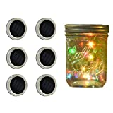 Solar Mason Jar Lights - SurLight Solar String Lights Mason Jar Lids 6 Pack 20 LED Multi Color Changing Twinkle Fairy String Lights, Mason Jar Lights Fit for Regular Mouth Jars (Jars Not Included)