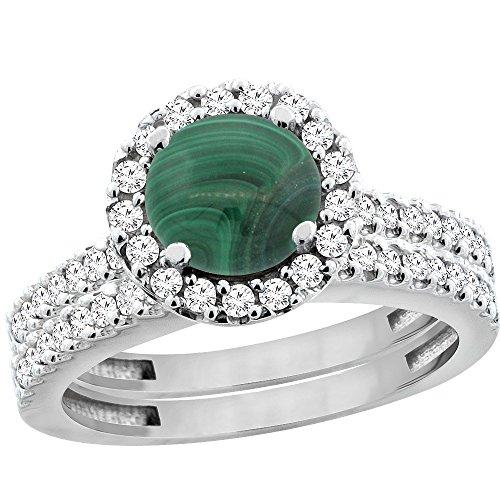 14K White Gold Natural Malachite Round 6mm 2-Piece Engagement Ring Set Floating Halo Diamond, size 10