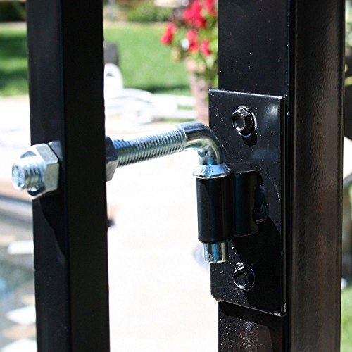 Horse Residential Post Mount - Black Steel Flat Wall Fence Gate Hardware Kit