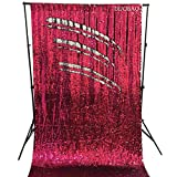 DUOBAO Sequin Backdrop Curtains 2 Panels 4FTx8FT Reversible Sequin Curtains Fuchsia to Silver Mermaid Sequin Curtain for Wedding Backdrop Party Photography Background