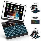 New iPad 9.7 Keyboard Case, GreenLaw 7 Color Backlit Keyboard Case Cover 360°