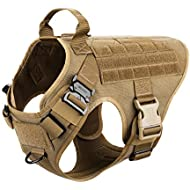 """ICEFANG Large Dog Tactical Harness,Military K9 Working Dog Molle Vest,No Pulling Front Clip,Metal Buckle Easy Put On Off (L (28""""-35"""" Girth), CB-Molle Half Body)"""