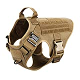 ICEFANG Large Dog Tactical Harness,Military K9 Working Dog Molle Vest,No Pulling Front Clip,Metal Buckle Easy Put On Off (L (28'-35' Girth), CB-Molle Half Body)
