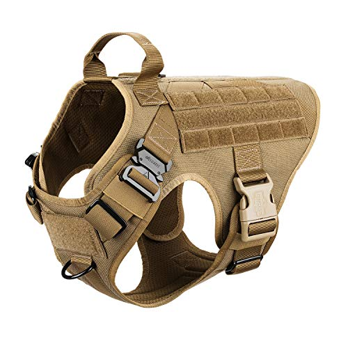 ICEFANG Large Dog Tactical Harness,Military K9 Working Dog Molle Vest,No Pulling Front Clip,Metal Buckle Easy Put On Off (L (28