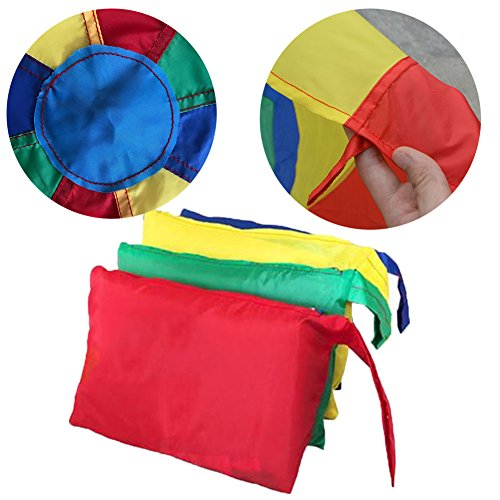 Erlsig 6 Foot Multicolored Play Parachute for Kids with 8 Handles Outdoor Camping Tent Picnic Mat Cooperative Games Birthday Gift with Bags for 3-8 Year Kids by Erlsig (Image #2)