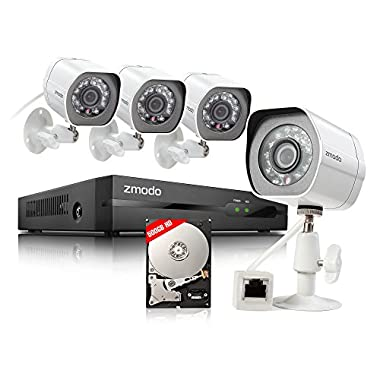 Zmodo 4-Camera Security System with 500GB Network Video Recorder and 720p Resolution