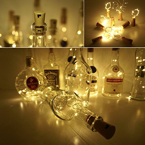 LoveNite Wine Bottle Lights with Cork, Warm White 10 Pack Battery Operated LED Cork Shape Silver Copper Wire Colorful Fairy Mini String Lights for DIY, Party, Decor, Christmas, Halloween,Wedding by LoveNite (Image #4)